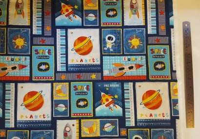 Fabric 39 space adventures 39 all sewn up wales for Retro space fabric uk