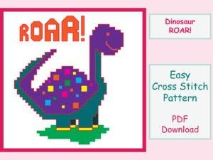 Dinosaur ROAR! Cross Stitch