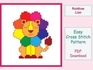 Rainbow Lion Cross Stitch