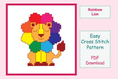 Rainbow Lion Cross Stitch
