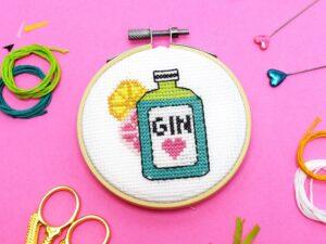 'GIN TIME' Mini Cross Stitch