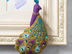 Corinne-Lapierre-Felt-Peacock-Embroidery-Craft-Kit